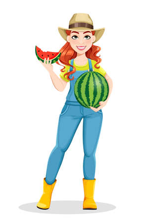 Beautiful woman farmer holding tasty watermelon. Cute girl farmer cartoon character. Stock vector illustration on white background Ilustração