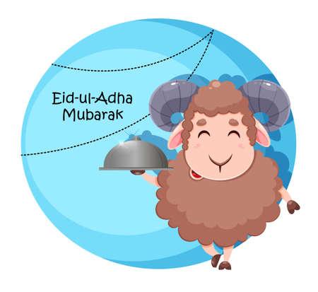 Eid Al Adha Mubarak greeting card. Cartoon sacrificial sheep for the celebration of Muslim traditional festival. Funny character ram. Stock vector illustration