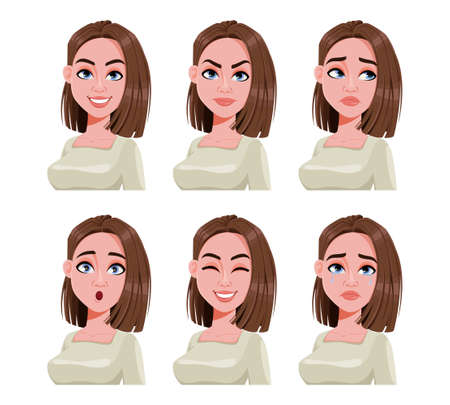 Face expressions of woman with brown hair. Different female emotions set. Beautiful cartoon character. Vector illustration can be used for avatar, emoticon etc. Ilustração