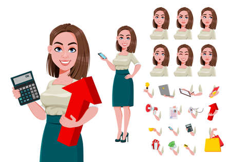 Young successful business woman creation set. Build your own design of cute businesswoman cartoon character. Stock vector illustration Ilustração