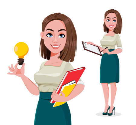 Young successful business woman, set of two poses. Cute businesswoman cartoon character. Stock vector illustration