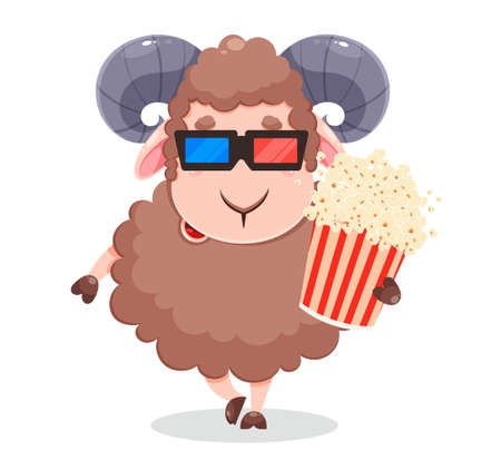 Eid Al Adha Mubarak greeting card with cartoon sacrificial sheep for the celebration of Muslim traditional festival. Funny character ram with popcorn. Stock vector illustration