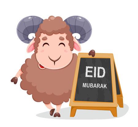 Eid Al Adha Mubarak greeting card with cartoon sacrificial sheep for the celebration of Muslim traditional festival. Funny character ram. Stock vector illustration Ilustração