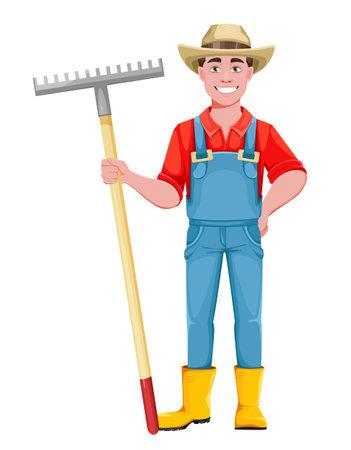 Handsome man farmer. Cheerful male farmer cartoon character with rake. Stock vector illustration on white background Vetores