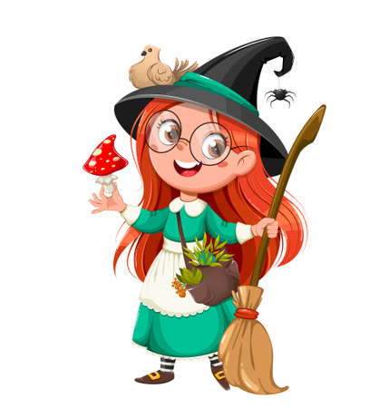 Happy Halloween. Cute girl witch. Beautiful little witch cartoon character. Stock vector illustration on white background