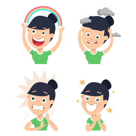 A housewife has various facial expressions isolated. Set of woman housewife emotions. Vector illustration in a flat style.