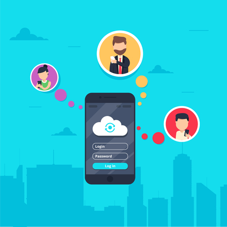 for men: Cloud synchronization concept design. Flat vector illustration of men and women in circle icons using smartphone mobile app for synchronizing data with cloud server via app. Sync technologies banner Illustration
