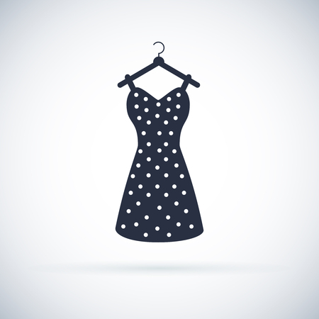 Icône de robe de femme d'été. Silhouette vecteur vintage. Illustration de la robe rétro noire. Symbole de vêtements Vecteurs