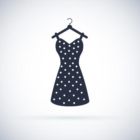 Ikona sukienka letnia kobieta. Vintage dresse sylwetka wektor. Czarna retro dresse ilustracja. Symbol ubrania. Ilustracje wektorowe