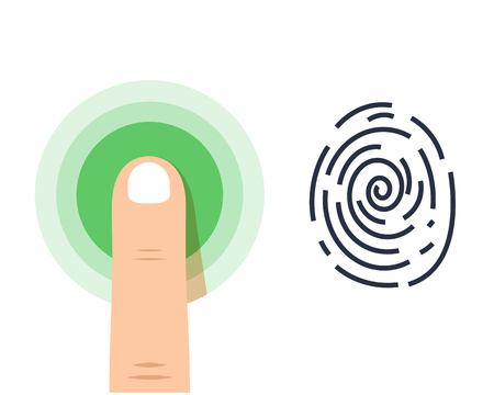 Icono de vector de huella digital humana sobre fondo blanco Foto de archivo - 81035040