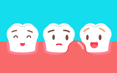 Cute cartoon tooth character with gum problem. Dental care concept, swollen gums or periodontal disease.