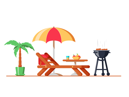 Modern backyard design exterior with lounger, table, sunshade umbrella and electric grill for barbecue.