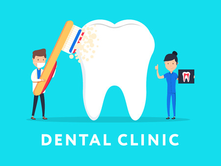 anesthesia: Dental clinic concept design for web banners, infographics. Stomatology dentist at work. Flat style vector illustration. Dental Care micro dentist patient people and huge tooth healthcare concept. Illustration