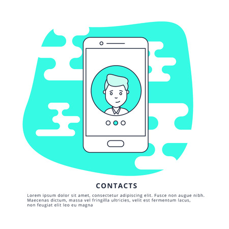Thin Line Icon Concept of Contacts. Symbol of Connection, Support or Contacts. Иллюстрация