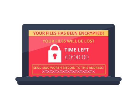 Equipo infectado por virus de malware ransomware wannacry. Notificación de alerta en el vector de computadora portátil, estafa en línea.