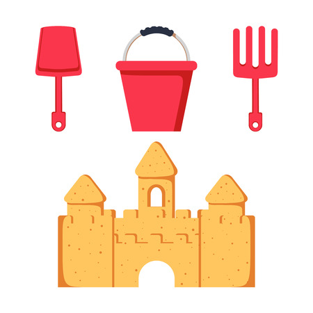 Beach toys and sand castle. Child pail, shovel and rake colorful icons. Children summer games and activities. Illustration