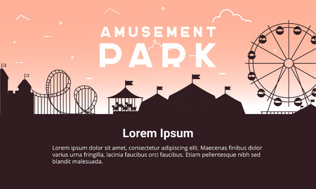 Silhouette amusement park scenery vector flat. Amusement park vector illustration for infographic map design. Architecture entertainment elements for family rest in the park. Colorful Ferris wheel, carousel, circus