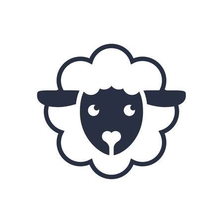 Sheep logo. Vector logo template. Sheep head line icon, filled outline vector sign, linear pictogram isolated on white. Symbol, logo illustration