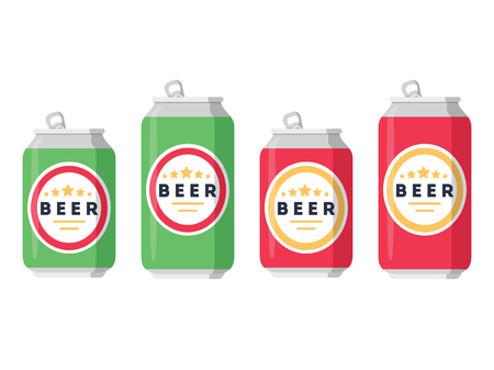 carbonated beverage: Beer set. A collection of beer cans in different colors on a white background. Isolated in a trendy flat style. Vector illustration.