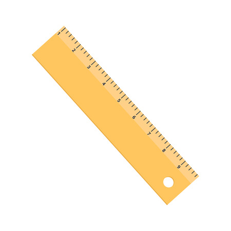 Yellow ruler icon flat isolated on white background