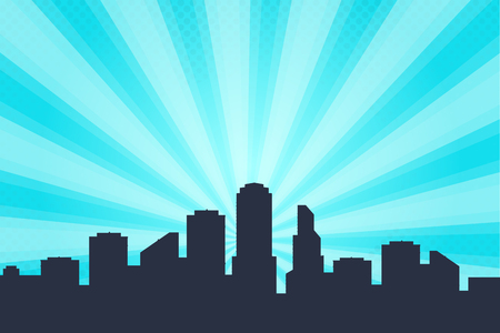 Comic book style background, big city skyline outlines. Silhouette of a beautiful cityscape in the background Vectores