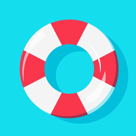 水、夏アイコンの背景デザインの泳ぐ管の平面図です。  イラスト・ベクター素材