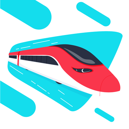 High speed bullet train come out from the circle, modern flat design, vector illustration. Speedrails train abstract concept Illustration