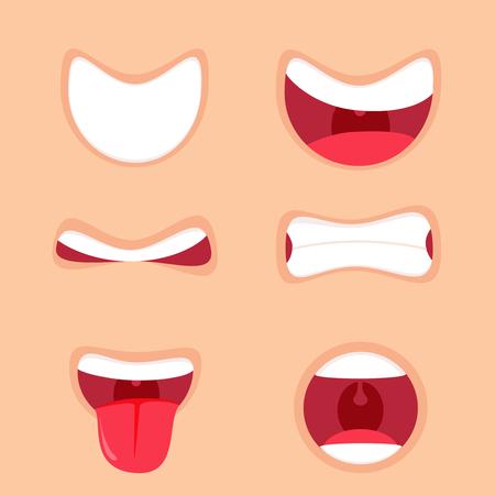 Funny boca de dibujos animados conjunto con diferentes expresiones. Sonríe con los dientes, sacando la lengua, sorprendido. Ilustración vectorial simple. Ilustración de vector