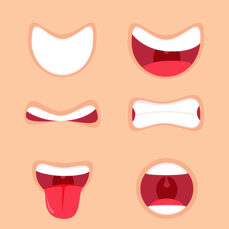 Funny Cartoon mouths set with different expressions. Smile with teeth, sticking out tongue, surprised. Simple vector illustration. Illustration