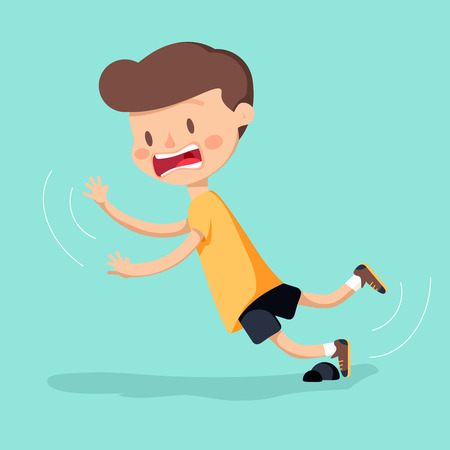 Boy was stumbling on rock while walking. Vector illustration