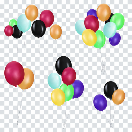 Bunches and groups of colorful helium balloons.