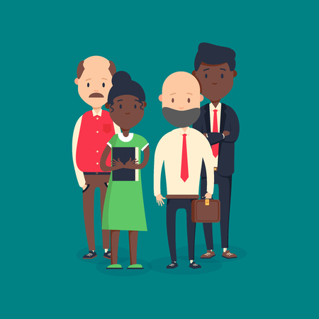 Cool vector flat illustration on business meeting. Group of company strategy conference characters sitting
