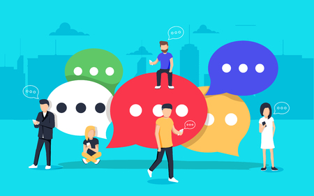 Speech bubbles for comment and reply concept flat vector illustration of young people using mobile smartphone