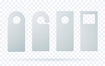 Set of door hangers isolated on transparent background. Door hanger mockup. Ilustração