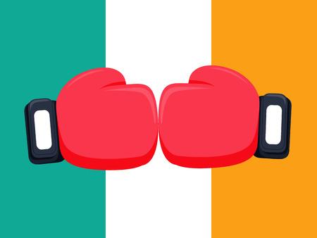 Icono rojo y negro del guante de boxeo de la historieta, frente. Ejemplo del