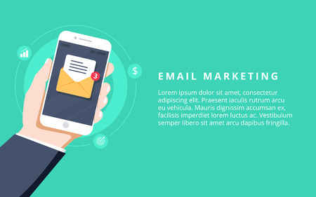 Flat vector for email marketing, newsletter marketing, email subscription and drip campaign with icons on green background