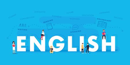 English word for education with icons flat design. Vector polyglot typographical wordcloud with mutiple words pertaining to language, study, dialogue and translation, in different sized fonts and different orientations Archivio Fotografico
