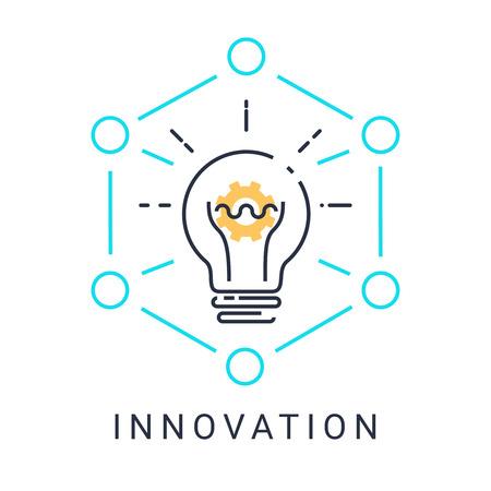 電球と白地の図 design.vector で上のギアの革新アイコン  イラスト・ベクター素材