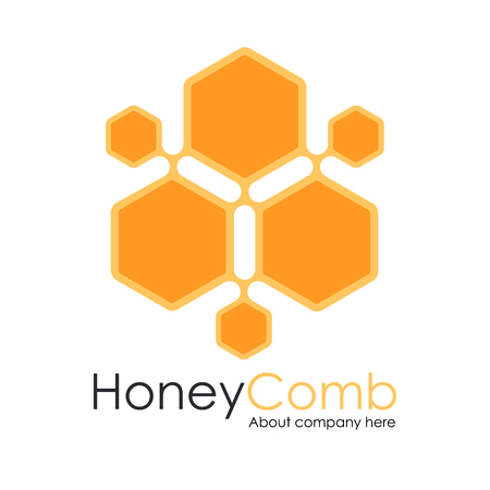 Honey Comb Logo Template Design Vector, honeycomb Emblem, Concept Ilustracja