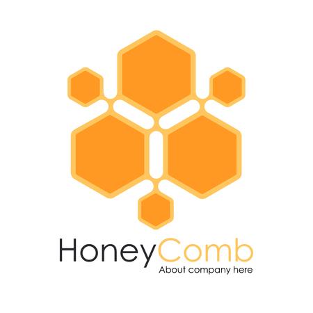 Honey Comb Logo Template Design Vector, honeycomb Emblem, Concept Vettoriali