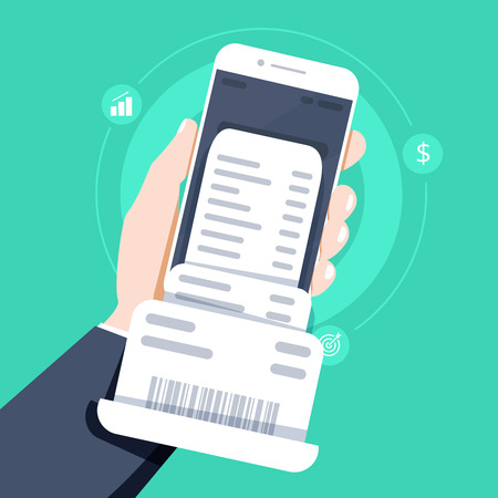 Hand holding smartphone with invoice bill paper , flat style mobile phone with invoice bill paper Illustration