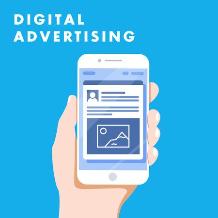 デジタル広告広告ソーシャル メディア オンライン マーケティング。ベクトル図の概念。