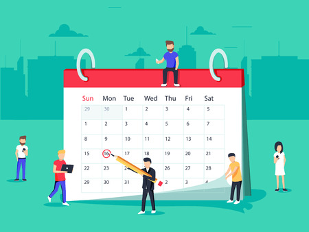Flat Business People Planning and Scheduling Operation by Drawing Circle Mark on Desk Calendar. Stock Photo - 87169961