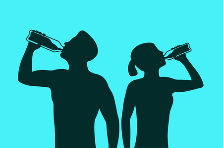man drinking water: Silhouette of body man and woman drinking water