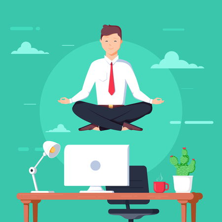 Boss doing yoga and get calm at workplace