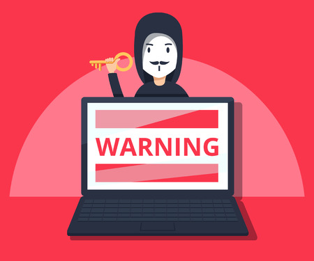 Hacker in mask stealing information on laptop Illustration