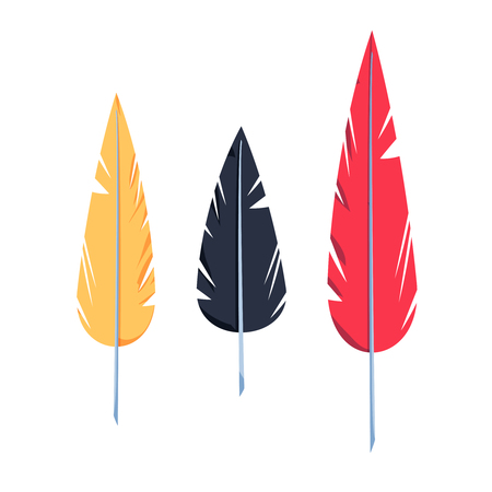 Feathers set in a flat style Illustration
