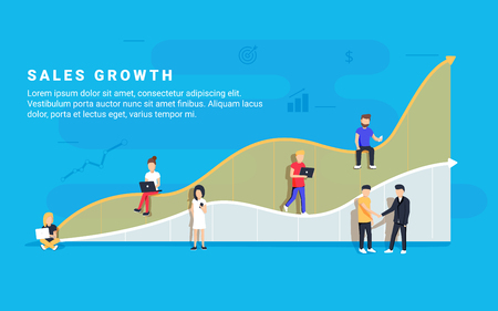 Business sales growth concept vector Illustration