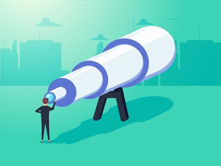 Concepto de visión en los negocios con el icono de vector de empresario y telescopio, monocular. Ver la imagen completa.