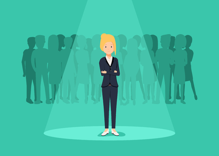 Business recruitment or hiring vector concept. Looking for talent. Businesswoman standing in spotlight or searchligh Иллюстрация